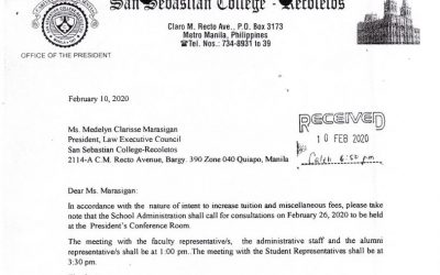 Annex G Notice of meeting to Representative of Law Student Council