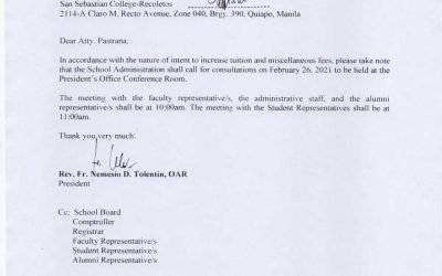 Notice of Consultation Meeting to the College of Law Dean