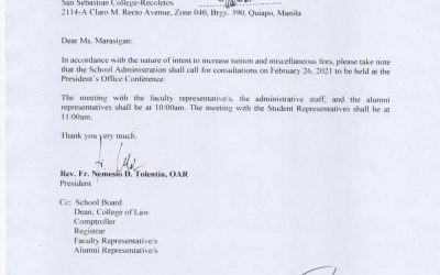 Notice of Consultation Meeting to the Representative of Law Student Council